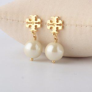 Tory Burch Logo Golden Pearl Earrings
